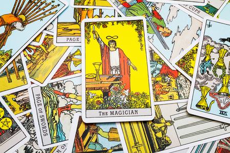Tarotkaarten en tarotkaart legging